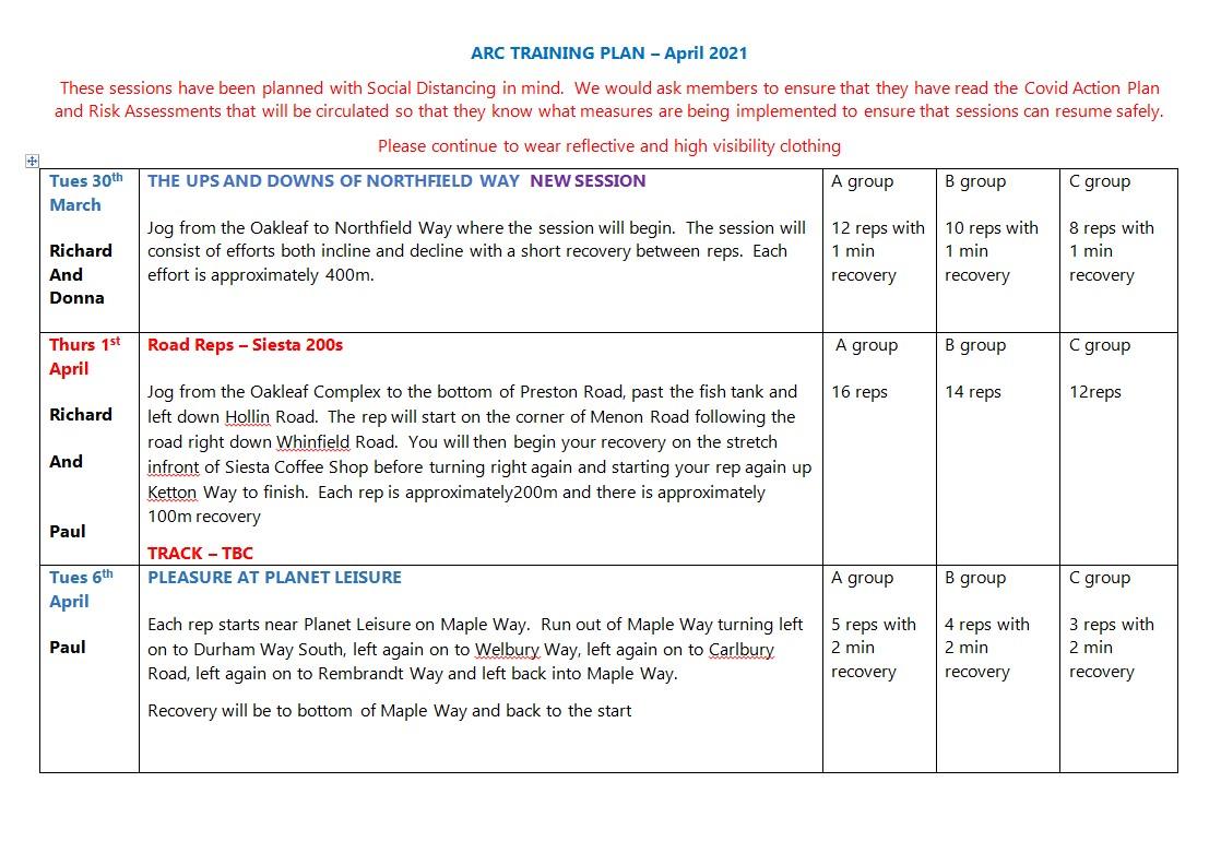 ARC Training Plan March & April 2021 a