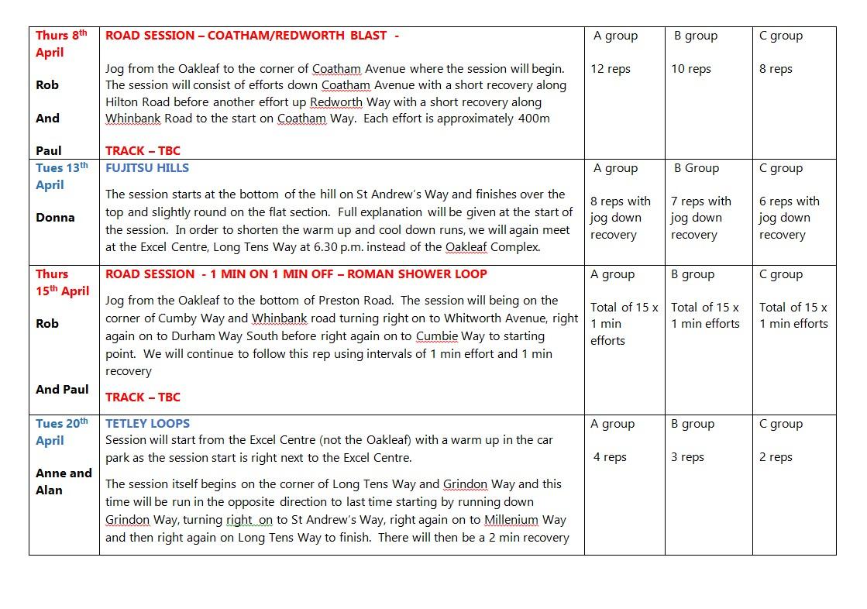 ARC Training Plan March & April 2021 b