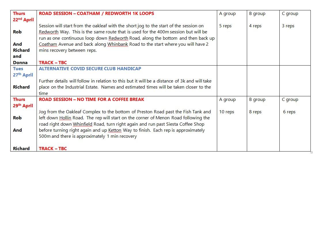 ARC Training Plan March & April 2021 c