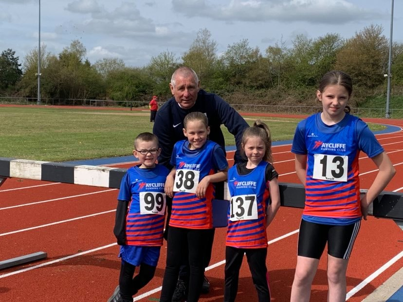 Juniors at Shildon Open Track Meeting (with Olympic Race Starter - Alan BELL)