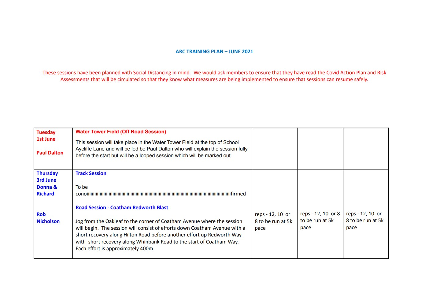 ARC Training Plan June 2021 a