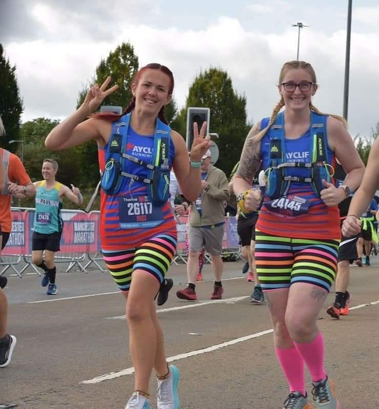 Nici INGMAN and Steph COLVIN enjoying running the Manchester Marathon